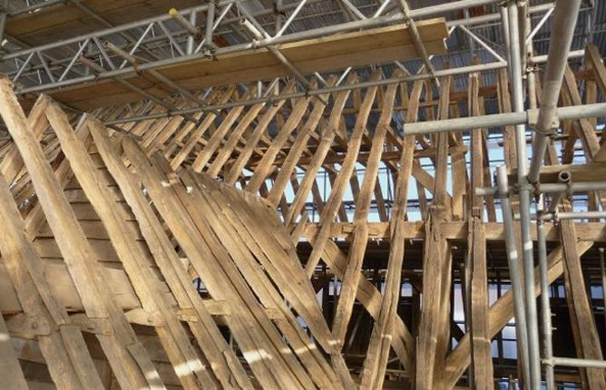 Restored roof beams